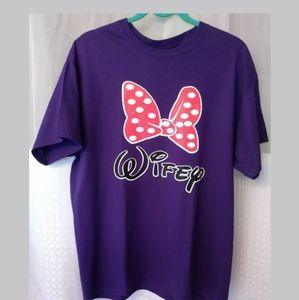 """WDW Minnie Mouse """"Wifey"""" T-Shirt Size L"""